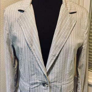 CAbi Lightweight Striped Gray/ Blue/ White size 8